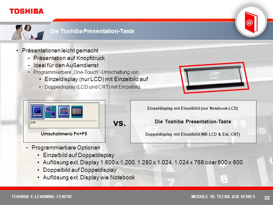 Die Toshiba Presentation-Taste