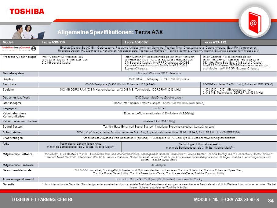 Allgemeine Spezifikationen: Tecra A3X