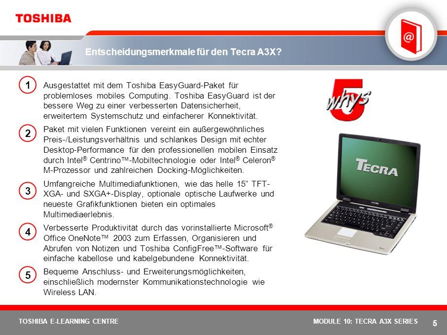 Entscheidungsmerkmale für den Tecra A3X