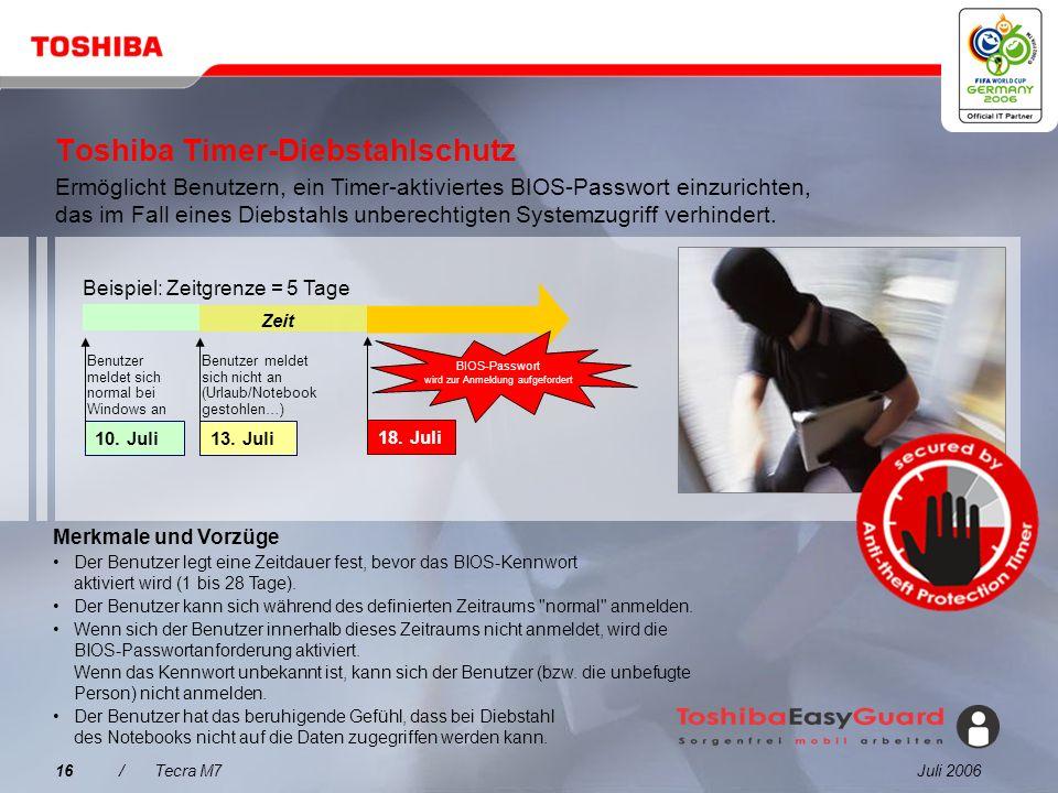 Toshiba Timer-Diebstahlschutz
