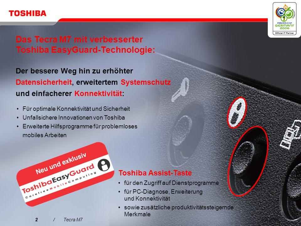 Das Tecra M7 mit verbesserter Toshiba EasyGuard-Technologie: