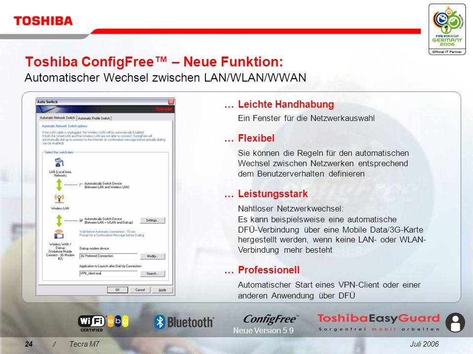 Toshiba ConfigFree™ – Neue Funktion: Automatischer Wechsel zwischen LAN/WLAN/WWAN
