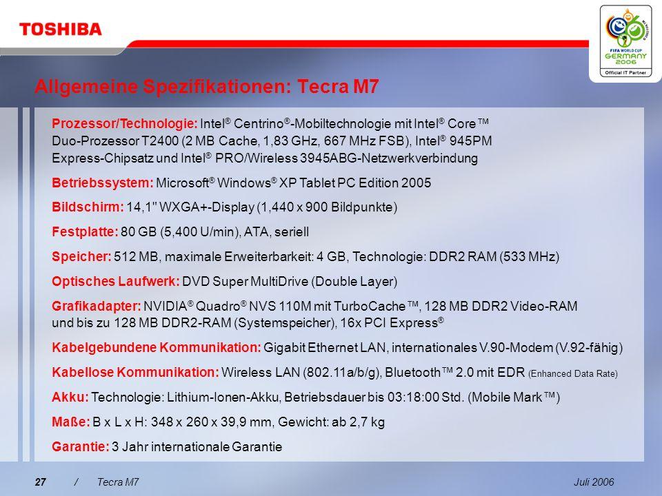 Allgemeine Spezifikationen: Tecra M7