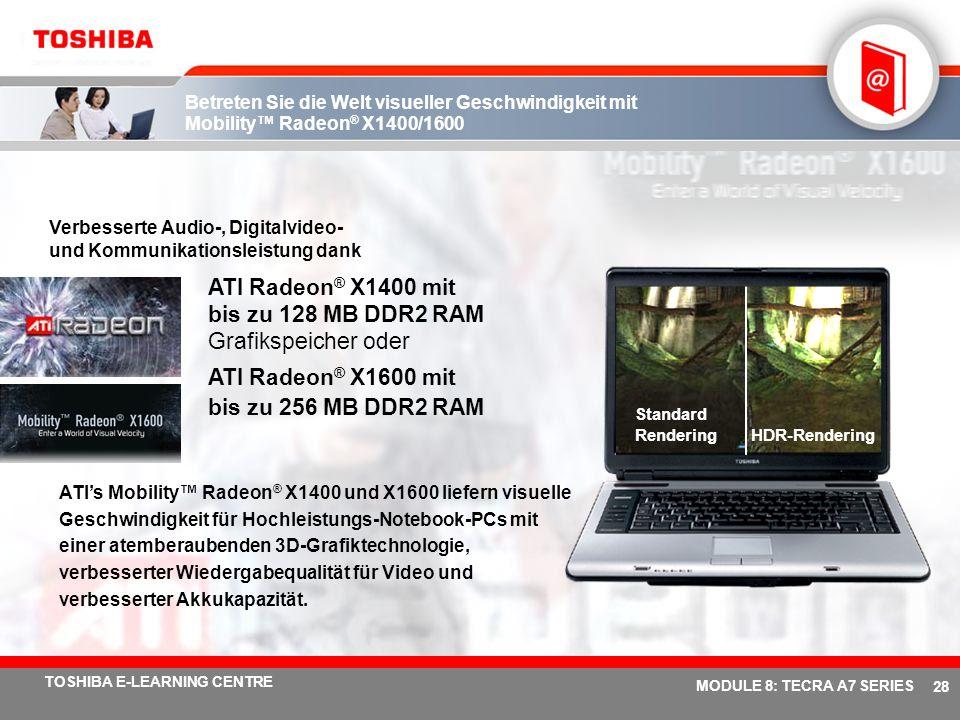 ATI Radeon® X1400 mit bis zu 128 MB DDR2 RAM Grafikspeicher oder