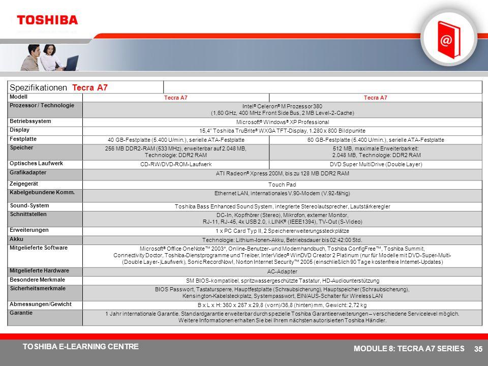 Spezifikationen Tecra A7
