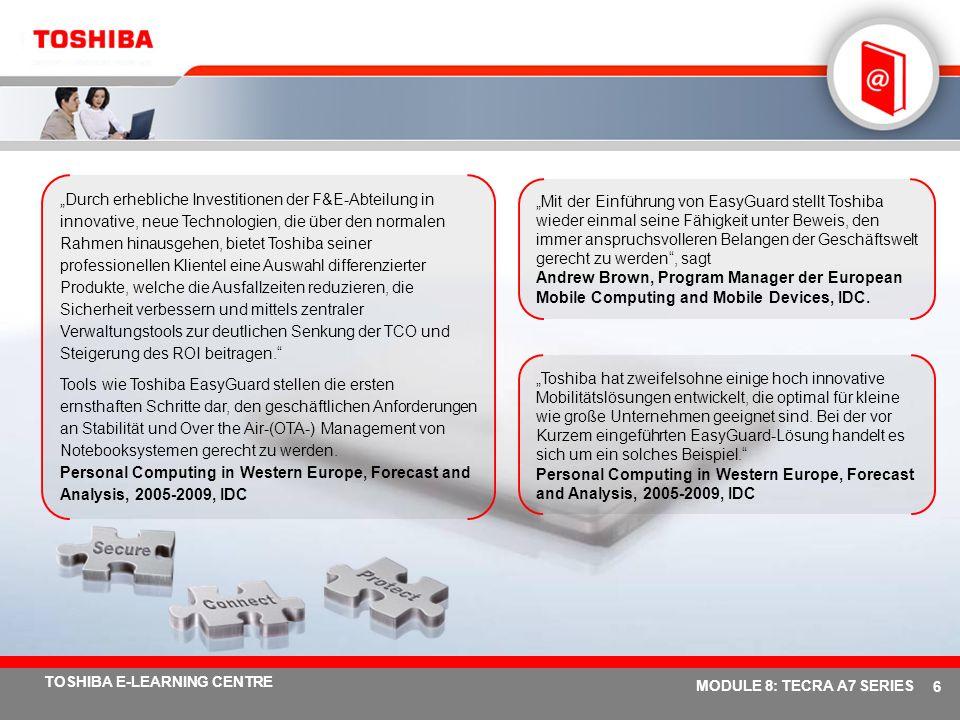 """""""Durch erhebliche Investitionen der F&E-Abteilung in innovative, neue Technologien, die über den normalen Rahmen hinausgehen, bietet Toshiba seiner professionellen Klientel eine Auswahl differenzierter Produkte, welche die Ausfallzeiten reduzieren, die Sicherheit verbessern und mittels zentraler Verwaltungstools zur deutlichen Senkung der TCO und Steigerung des ROI beitragen."""