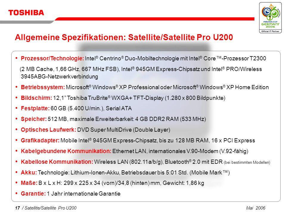 Allgemeine Spezifikationen: Satellite/Satellite Pro U200