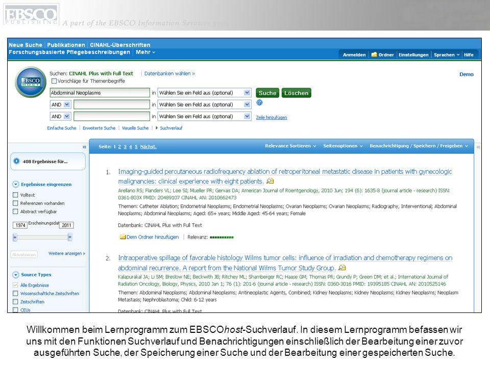 Willkommen beim Lernprogramm zum EBSCOhost-Suchverlauf