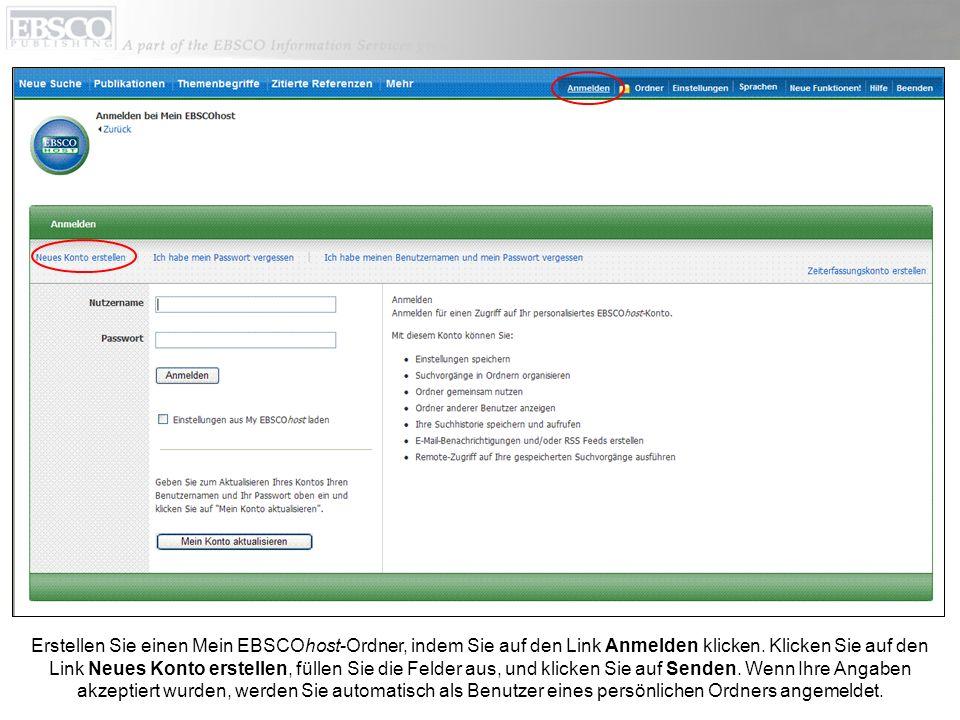Erstellen Sie einen Mein EBSCOhost-Ordner, indem Sie auf den Link Anmelden klicken.