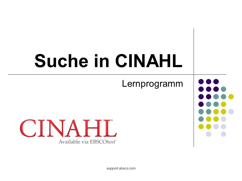 Suche in CINAHL Lernprogramm support.ebsco.com