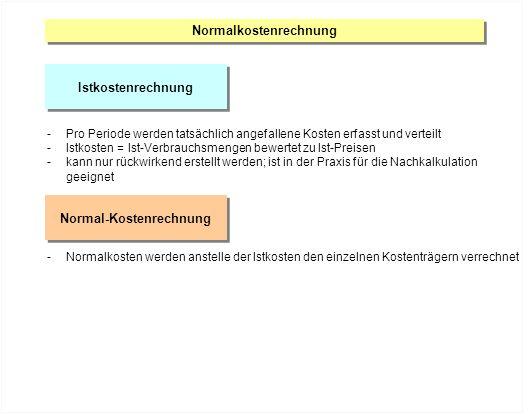 Normalkostenrechnung Normal-Kostenrechnung
