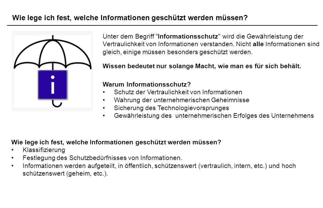 5.3. Auf was ist zu achten Wie lege ich fest, welche Informationen geschützt werden müssen