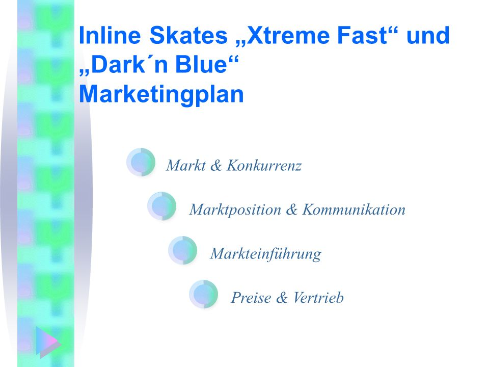 "Inline Skates ""Xtreme Fast und ""Dark´n Blue Marketingplan"