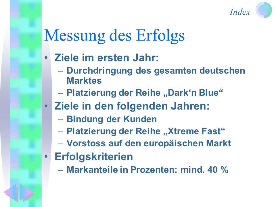 Messung des Erfolgs Ziele im ersten Jahr: