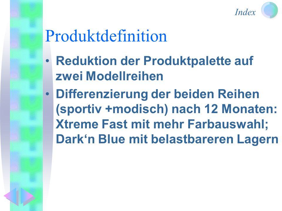 Produktdefinition Reduktion der Produktpalette auf zwei Modellreihen