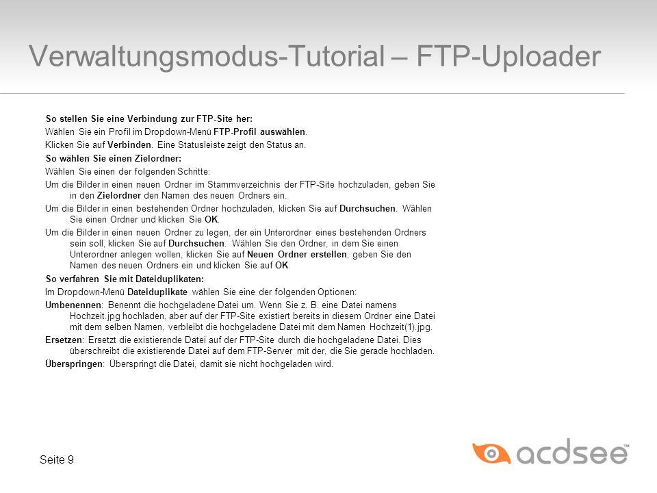 Verwaltungsmodus-Tutorial – FTP-Uploader
