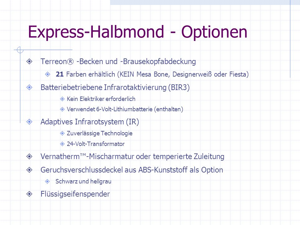 Express-Halbmond - Optionen