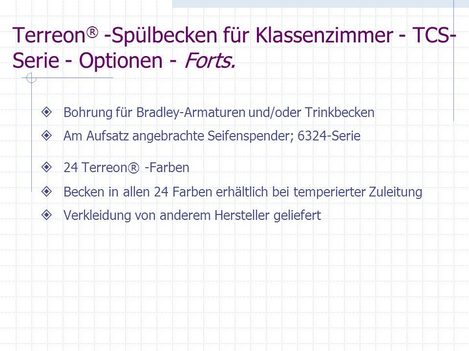 Terreon® -Spülbecken für Klassenzimmer - TCS-Serie - Optionen - Forts.