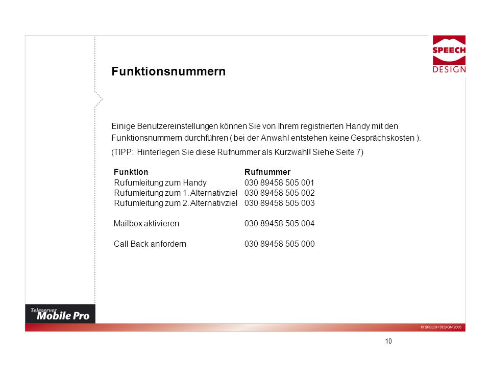 FunktionsnummernEinige Benutzereinstellungen können Sie von Ihrem registrierten Handy mit den.