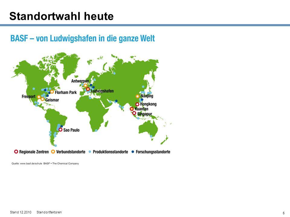 Standortwahl heute Stand 12.2010 Standortfaktoren 5