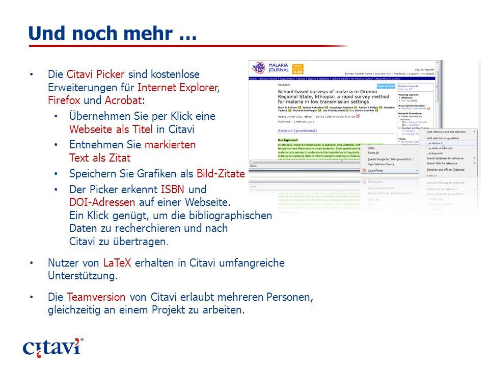 Und noch mehr … Die Citavi Picker sind kostenlose Erweiterungen für Internet Explorer, Firefox und Acrobat: