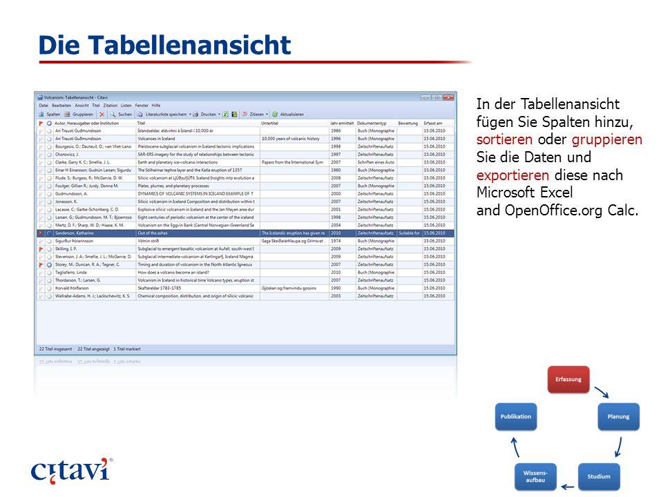 Die Tabellenansicht