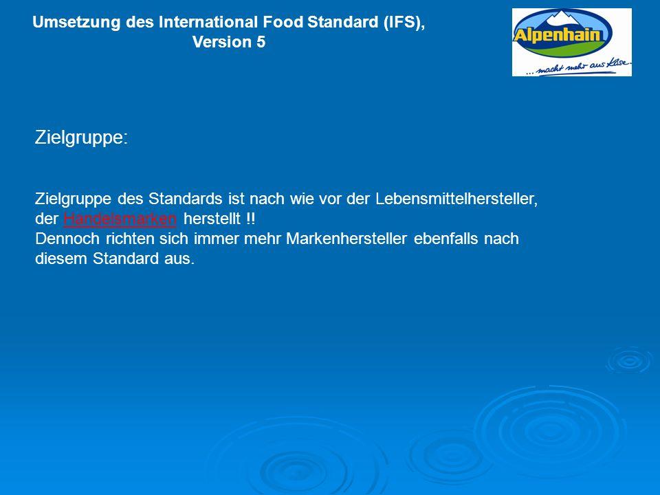 Zielgruppe:Zielgruppe des Standards ist nach wie vor der Lebensmittelhersteller, der Handelsmarken herstellt !!