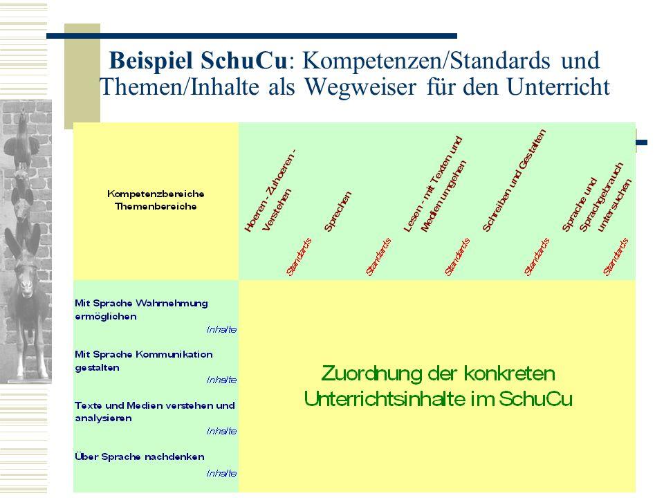Beispiel SchuCu: Kompetenzen/Standards und Themen/Inhalte als Wegweiser für den Unterricht