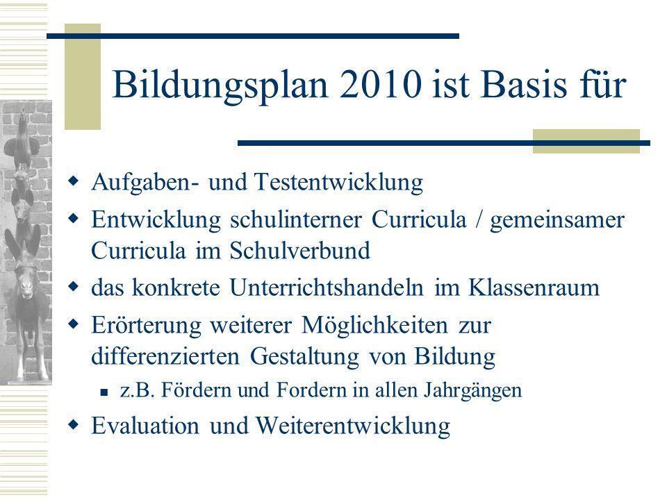 Bildungsplan 2010 ist Basis für