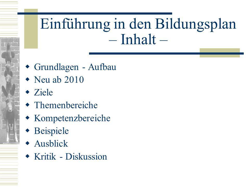 Einführung in den Bildungsplan – Inhalt –