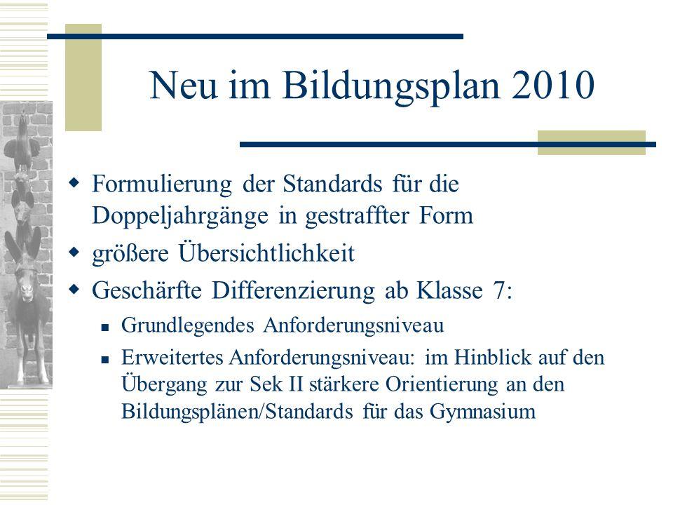 Neu im Bildungsplan 2010 Formulierung der Standards für die Doppeljahrgänge in gestraffter Form. größere Übersichtlichkeit.