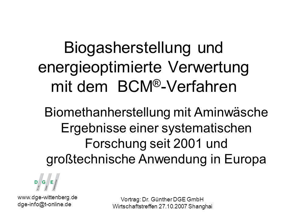Biogasherstellung und energieoptimierte Verwertung mit dem BCM®-Verfahren