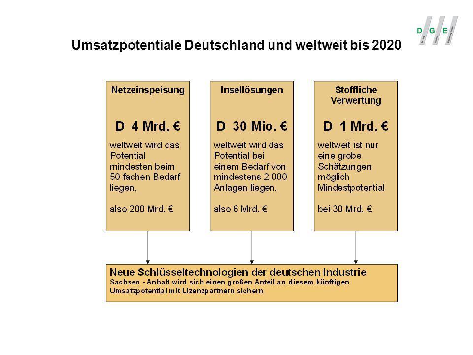 Umsatzpotentiale Deutschland und weltweit bis 2020