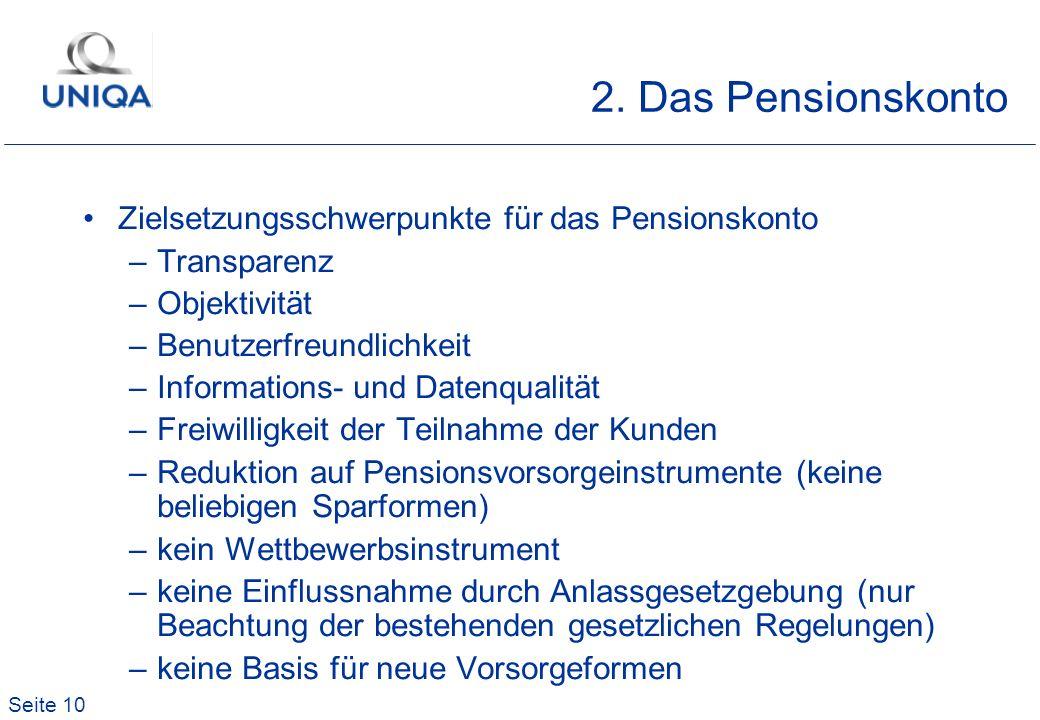 2. Das Pensionskonto Zielsetzungsschwerpunkte für das Pensionskonto