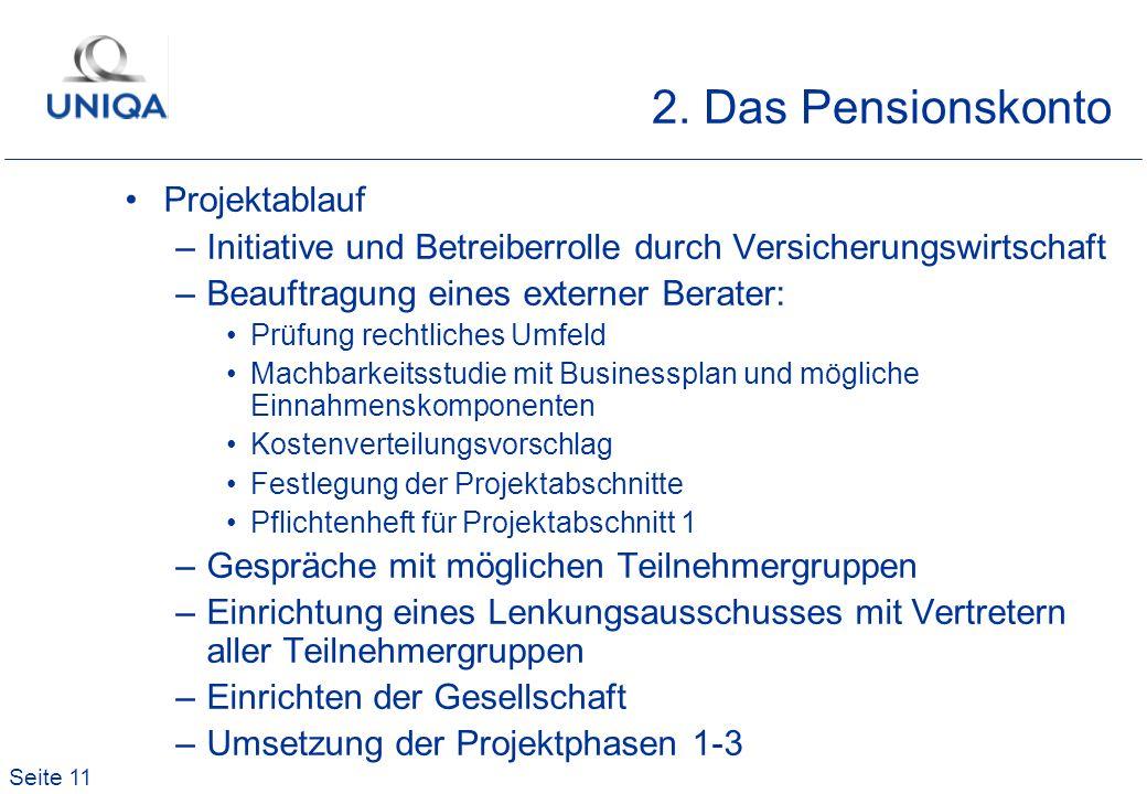 2. Das Pensionskonto Projektablauf