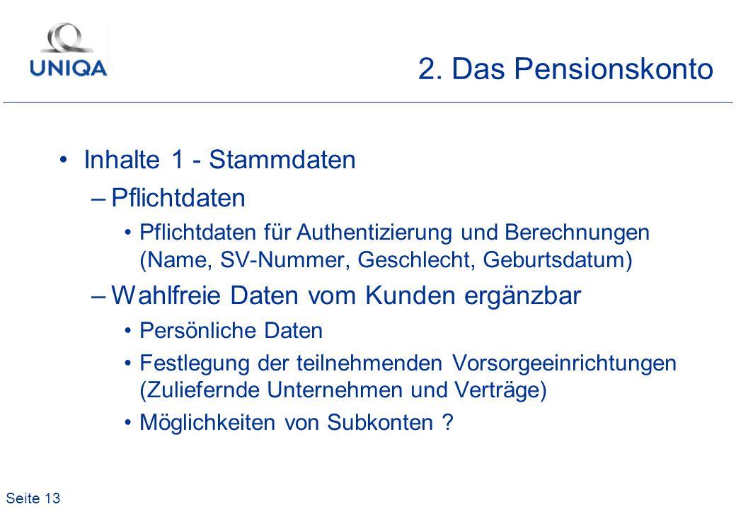 2. Das Pensionskonto Inhalte 1 - Stammdaten Pflichtdaten