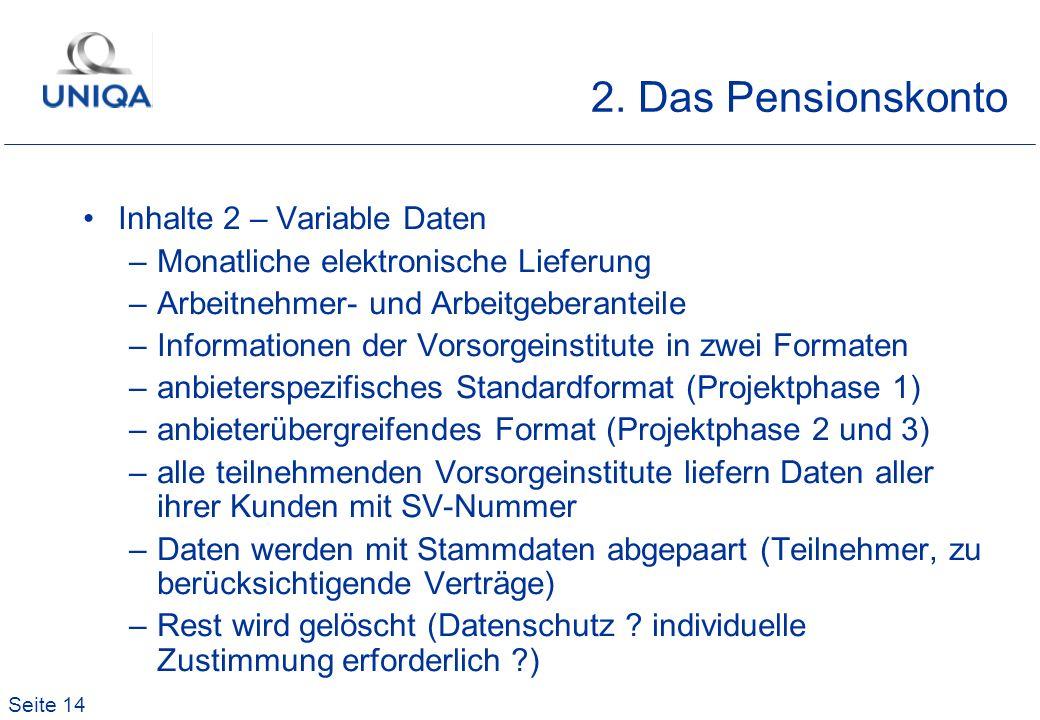 2. Das Pensionskonto Inhalte 2 – Variable Daten