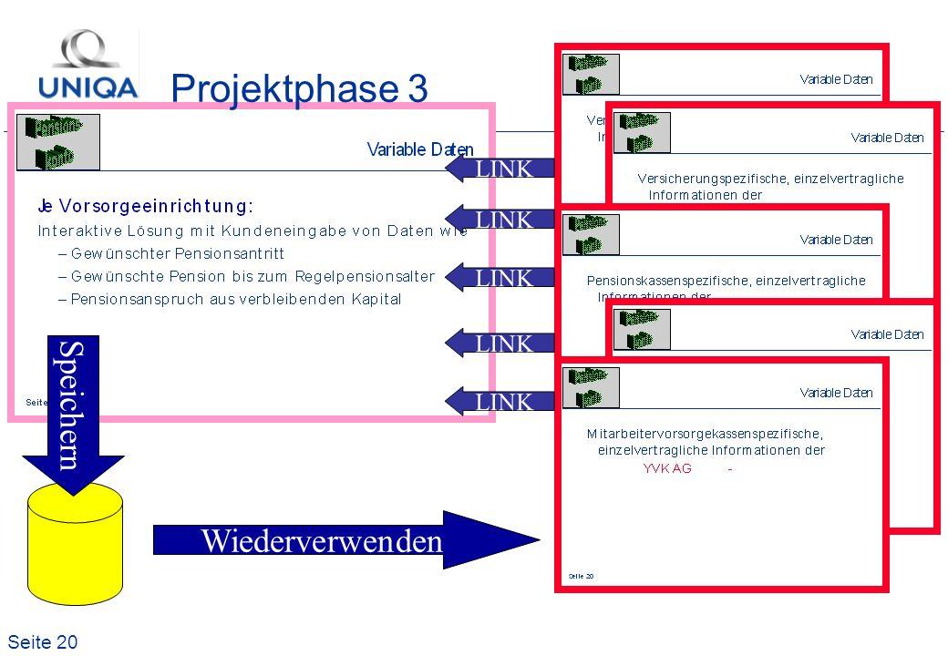 Projektphase 3 LINK LINK LINK LINK Speichern LINK Wiederverwenden