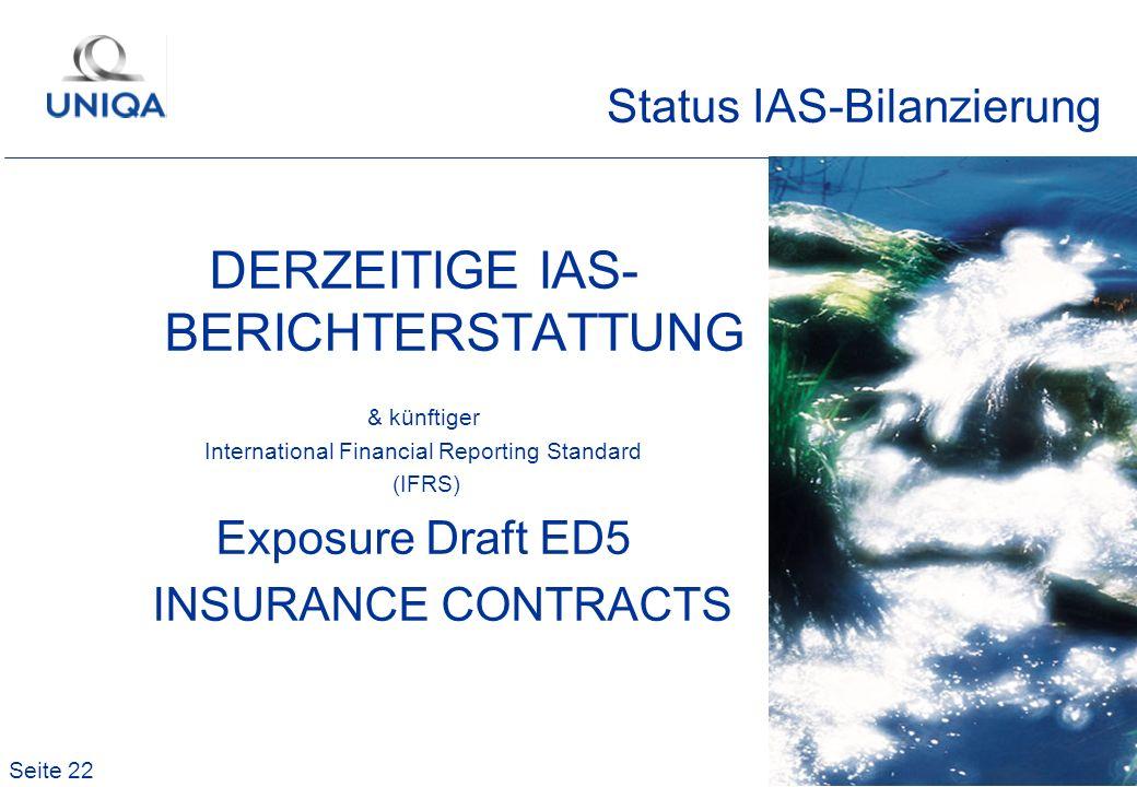 Status IAS-Bilanzierung