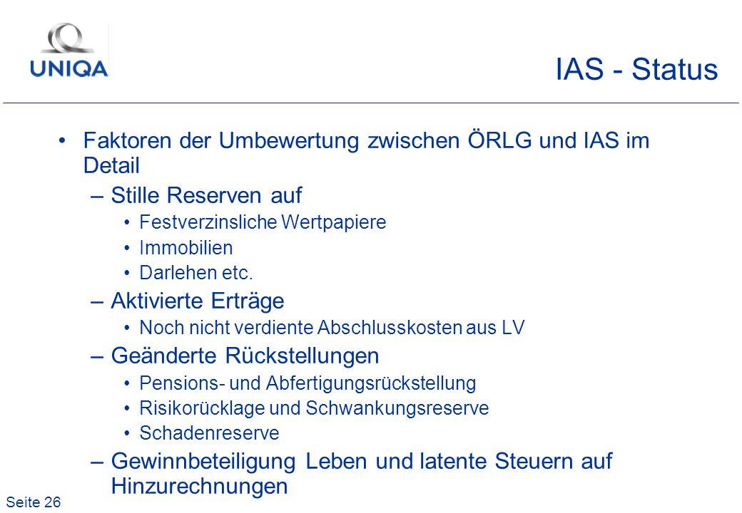 IAS - Status Faktoren der Umbewertung zwischen ÖRLG und IAS im Detail