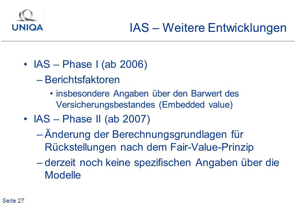 IAS – Weitere Entwicklungen