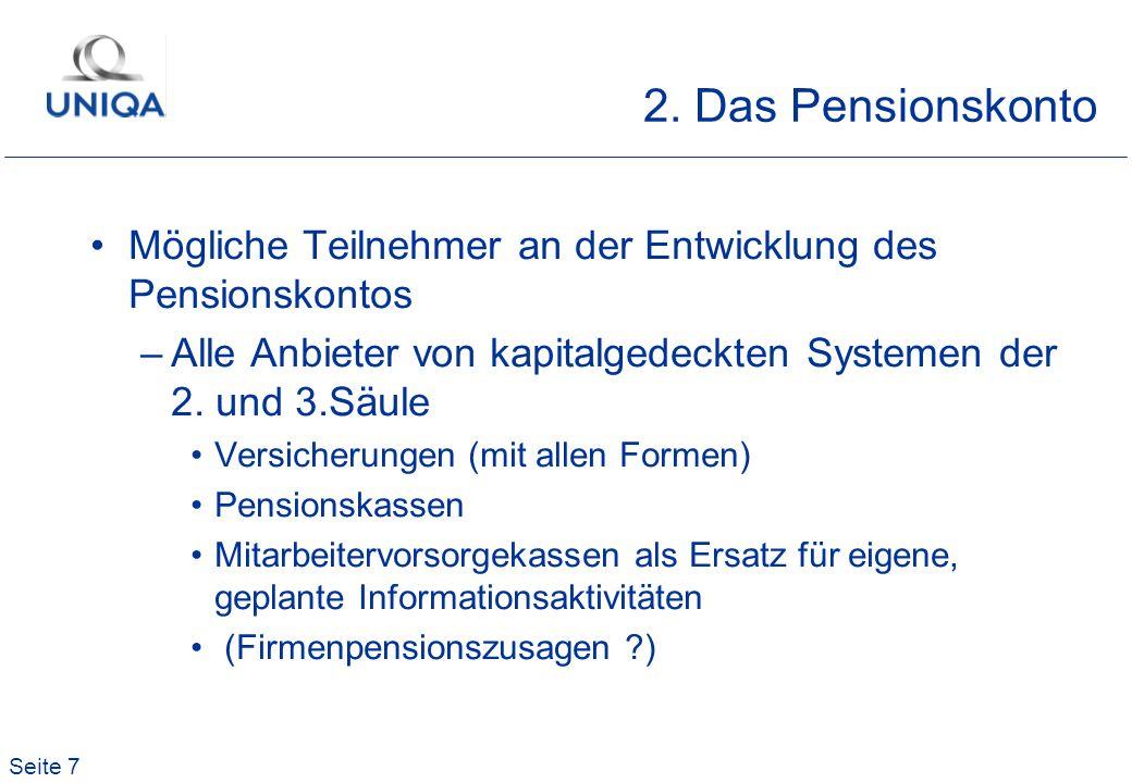 2. Das PensionskontoMögliche Teilnehmer an der Entwicklung des Pensionskontos. Alle Anbieter von kapitalgedeckten Systemen der 2. und 3.Säule.