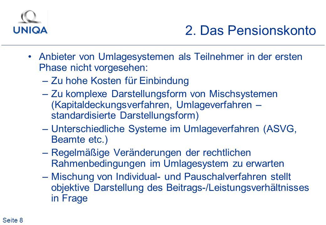 2. Das Pensionskonto Anbieter von Umlagesystemen als Teilnehmer in der ersten Phase nicht vorgesehen: