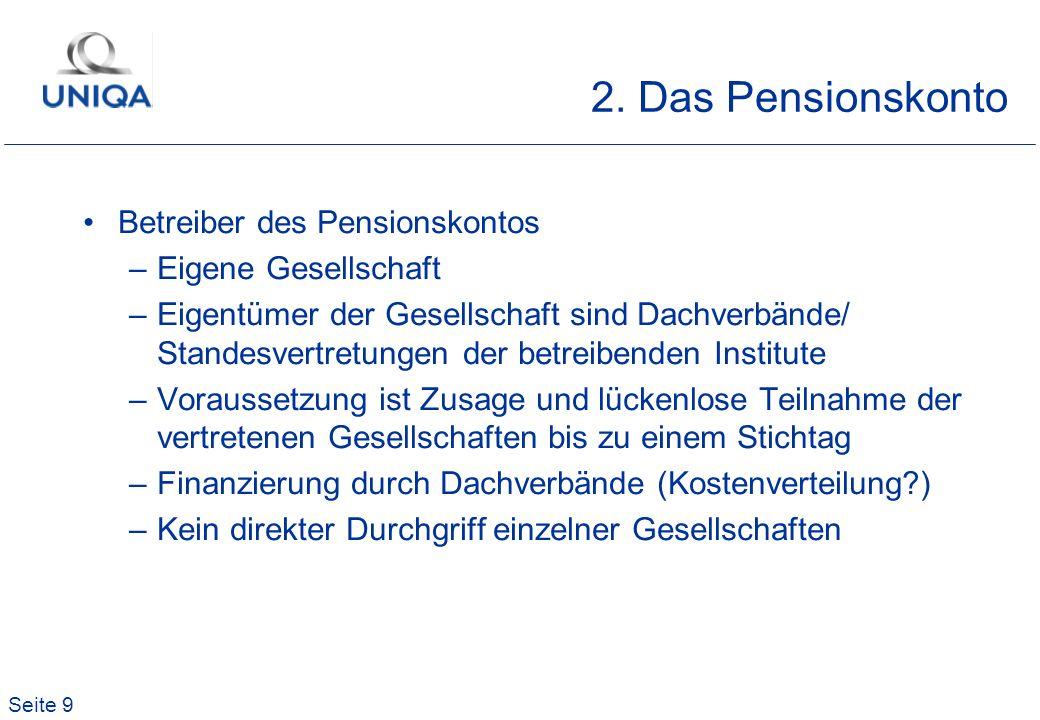 2. Das Pensionskonto Betreiber des Pensionskontos Eigene Gesellschaft