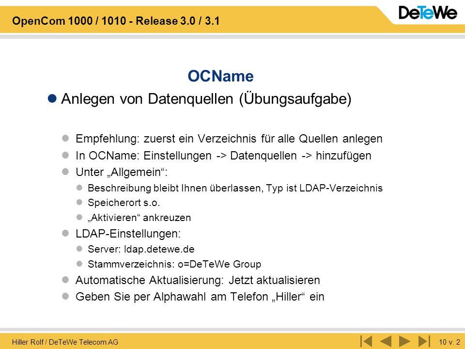 OCName Anlegen von Datenquellen (Übungsaufgabe)
