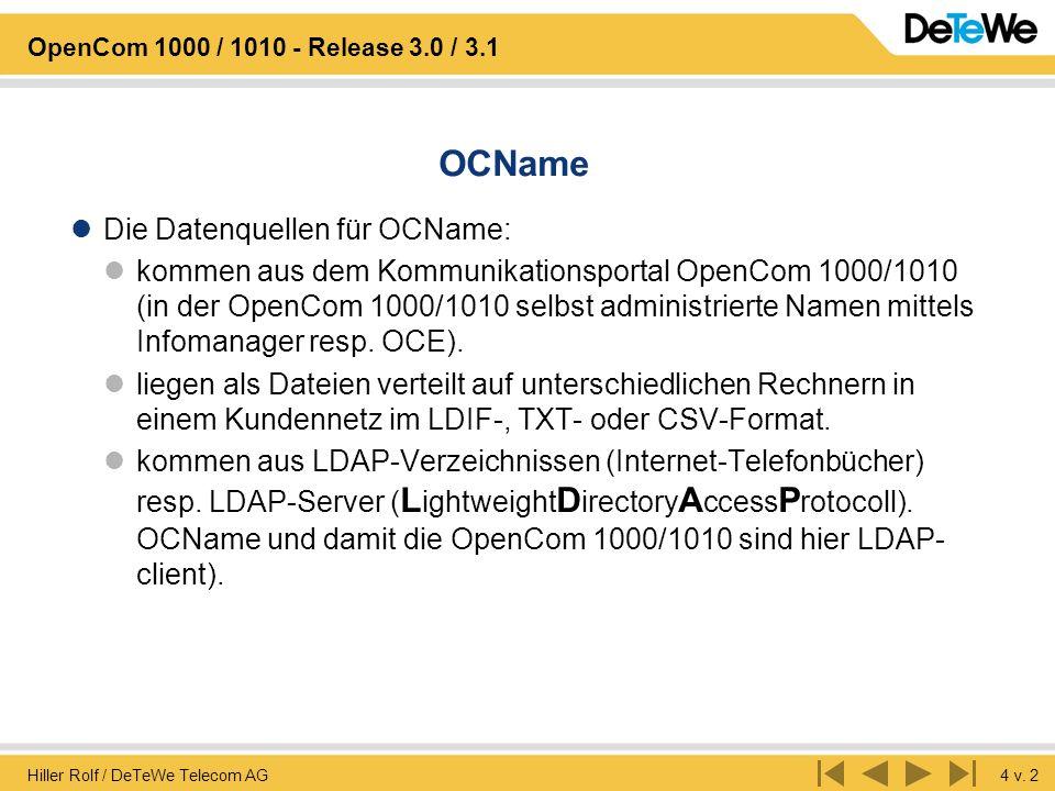 OCName Die Datenquellen für OCName: