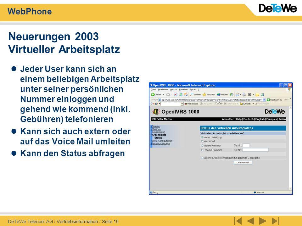 Neuerungen 2003 Virtueller Arbeitsplatz