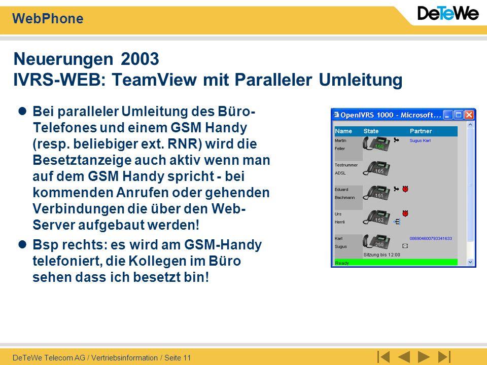 Neuerungen 2003 IVRS-WEB: TeamView mit Paralleler Umleitung