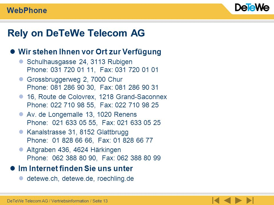 Rely on DeTeWe Telecom AG