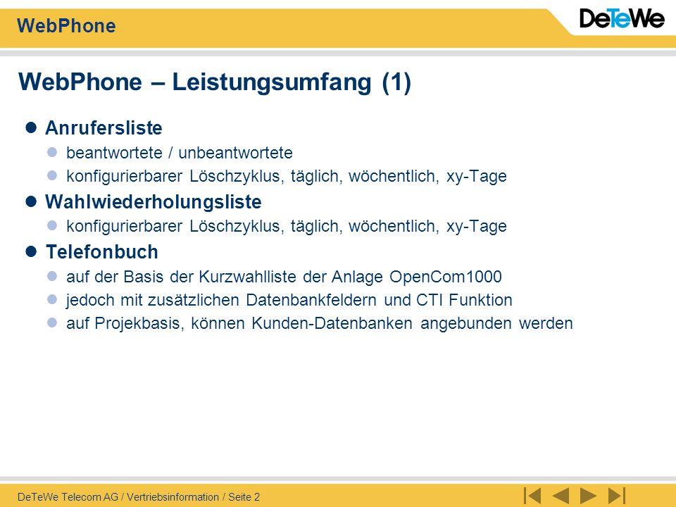 WebPhone – Leistungsumfang (1)